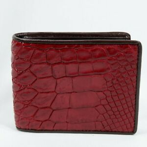New Genuine Burgundy Alligator Crocodile Leather skin Men's Bi-fold Wallet.