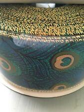 2 metres Wire Edge Ribbon Peacock Feather Ribbon Iridescent 63mm Wide