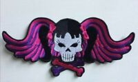 Punk girl skull pink crossbones badge clothes Embroidered Iron on Sew on Patch