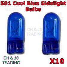 10 x 501 Cool Blue Sidelight Bulbs 12v 5w Capless Car Auto Side Light Bulb