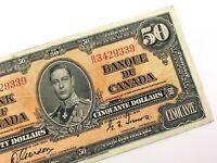 1937 Canada 50 Dollar Circulated BH Prefix Gordon Towers Banknote Fifty R645