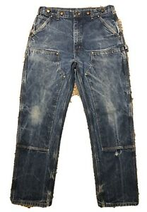 Vintage CARHARTT B07 DNM Denim Double Front Knee Cowboy Logger Work Jeans 36x33