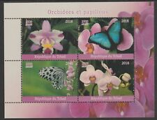 Chad 7656 - 2018 ORCHIDS  & BUTTERFLIES   perf sheet of 4 unmounted mint