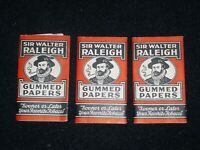 3x Sir Walter Raleigh Gummed Papers~Lot of Three Tobacco Rolling Paper Packs