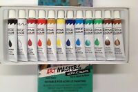 12 Color 12ml Paint Tube Draw Painting Acrylic Colour Set Drawing