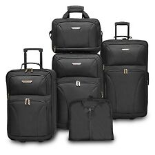 Traveler's Choice Ultimate 5-Piece Black Expandable Luggage Tote Garment Bag Set