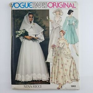 Vogue Paris Original Pattern 1363 UNCUT  Nina Ricci  Bride Wedding Dress Size 14