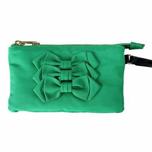 Red Valentino Bow Decorated Green Women's Wristlet Clutch Bag