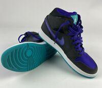 "Nike Air Jordan 1 Mid Basketball Shoes ""Black Grape"" 554724-015 Men's Size 8"