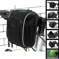 New Cycling Bicycle Bike Handlebar Bag Front Basket Pouch With Rain Cover Black