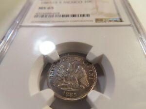 I64 Mexico 1885-Zacatecas, S 10 Centavos NGC MS-65