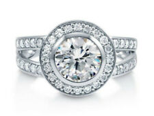 Zirconia Round Halo Ring Sterling Silver Aaaa Cubic