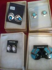 Lot of Four Pair Sterling Silver Studs w/Turquoise & other