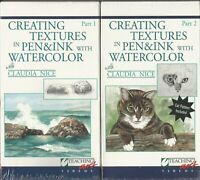 Creating Textures in Pen & Ink w Watercolor Claudia Nice Part 1 & 2 VHS NEW 2001