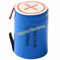 1x Ni-Mh 4/5 SubC Sub C 1.2V 2800mAh Rechargeable Battery with Tab Blue