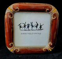 """Jeweled Enamel Square Photo Frame Gold & Burgundy """"Venetian"""" Style"""