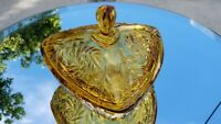 "Hazel Atlas Amber Pinwheel Covered Lid Glass Box Bowl 6.5"" Triangle Wedge Shaped"