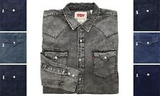 Levi Strauss Mens Western Shirt Levi's Barstow Denim Pearl Snap Long Sleeve