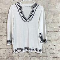 Cache Women's Tunic Top White Black Size Medium 3/4 Sleeve Linen Blend V Neck