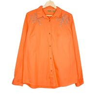 Wrangler Womens Orange Western Snap Button Up Long Sleeve Shirt Blouse Size L
