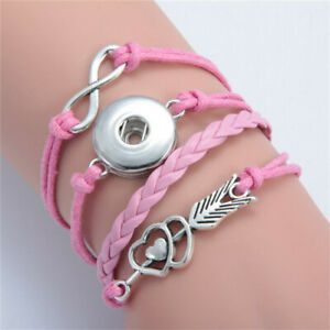 Diy Handmade Leather Adjustable Bracelet For Button Silver Charm Fit Snaps18Mm &