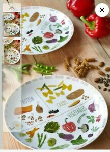 NEXT Porcelain set 2  Portion Control Plate  healthy eating  IN BOX