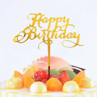 Acrylic Baking cake Insert Party Decoration Glitter Cake Topper Happy BirthdBDA
