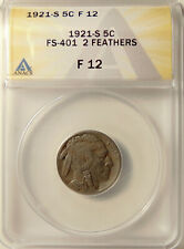 1921-S Buffalo Nickel - ANACS F12 - 2 Feathers FS-401 - Very Nice Looking Coin