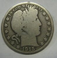 1915-S Silver Barber Half Dollar Grading GOOD Nice Uncleaned Coin   r35