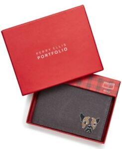 Perry Ellis Mens Dog Bifold Wallet Cnavas Grey New 084971992021