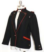 "BLACK WOOL JACKET German Women Hunting Riding Jumping Dress Coat /36/6 8 S B39"""