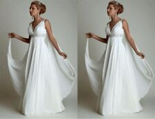 Greek Beach Boho Wedding Dress Maternity Pregnant Bridal Gown High Waist