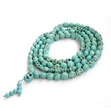 13mm*10mm Howlite Turquoise Skull Tibet Buddhist 108 Prayer Beads Mala Necklace