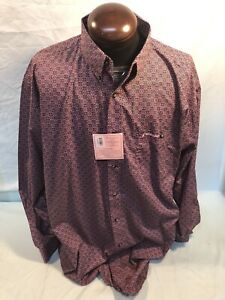Mens NEW WRANGLER Tough Enough To Wear Pink 2XLT XXLT Western Cotton Shirt