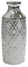 Lesser & Pavey 30cm Tall Gloss Silver Ceramic Bottle Flower Vase Silver Art Vase