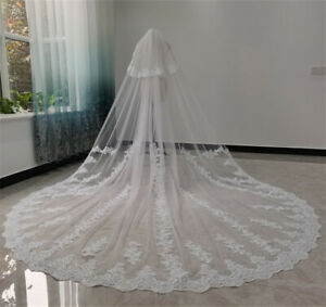 Two Layers Bridal Wedding Veils with Comb Blusher Lace Appliques Cathedral Ivory