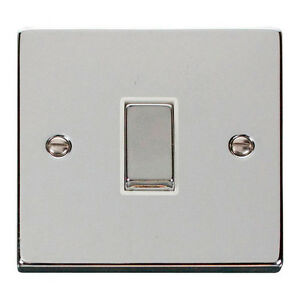 Click Deco 10 amp 1 gang 2 way Plate Light Switch Polished Chrome White insert