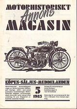 Motorhistoriskt Magasin Annons Swedish Car Magazine 5 1985 Indian 32717nonDBE