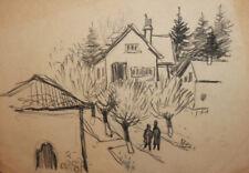 Vintage pencil drawing landscape cityscape