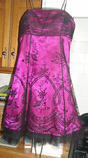 MORGAN & CO DRESS SIZE 3 - DEEP PINK & BLACK LACE WORN ONCE, PROM / PARTY / BALL