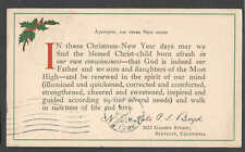 1913 PC BERKELEY CA CHRISTMAS-NEW YEAR PRINTED RELIGIOUS GREETING CARD SEE INFO