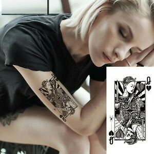 One Temporary Tattoo .Queen tattoo .Waterproof Ladies,man.removable large.21x12