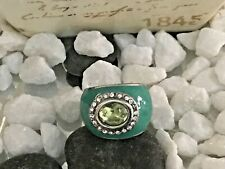 Beautiful Green Enamel CZ Silver Oval Shaped Ring Size 8