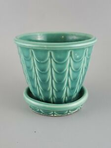 "Vintage USA stamped pottery, 3"" planter w/ attached base, fishscale. McCoy?"