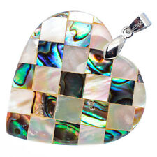 """Mother of Pearl Natural Abalone Sea Shell Heart Pendant 1 1/2"""" Jewelry #01-Z"""