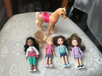 BARBIE 4 x SMALL DOLLS AND HORSE VGC
