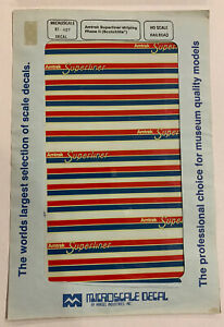 MICROSCALE HO DECAL - AMTRAK SUPERLINER STRIPING -PH II (SCOTCHLITE)  #87-427