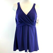 Miracalsuit PURPLE One Piece Bathing Suit Size 20 W Crossover Slimming Swim NWT