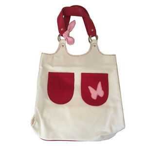 Cacharel Tote Beige Red Pink Women Bag Large