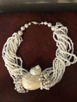 Vintage 1980's Pearl & Mother of Pearl Twisting Chunky Choker w/ Real Shell
